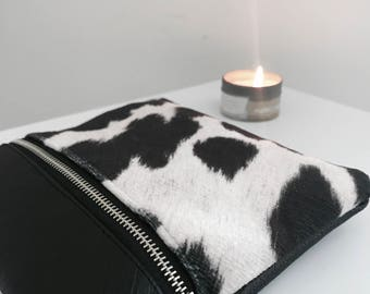 Cow Print Dahlia Clutch  (Suede Cowhide Fabric)