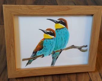 ORIGINAL (NO PRINT) Framed Bee Eater Birds Pencil Drawing, Realistic, Wall Art, Home Decor, Gift, Woodland, Wildlife