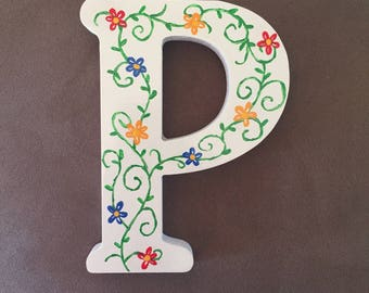 Letter P wall hanging, letter P decor, letter P, letter decor, nursery decor, babyshower gifts, gifts for girls, gifts for teens,