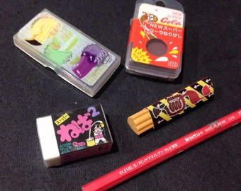 Set of 4 Japanese erasers | Kneaded rubber with scented , Plastic block eraser, Poop, Cola kawaii