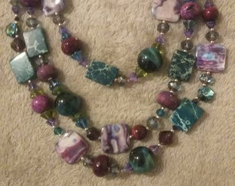 Three Strand Multi-colored Necklace and Earrings