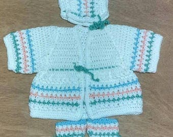 Hand Crocheted Baby Sweater, Bonnet and Booties