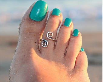 Sterling Silver Beach Toe Ring Adjustable