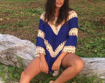 Boho Dress / blue & Beige / Crochet Camisole / short Kaftan / Beach Dress / Ibiza style