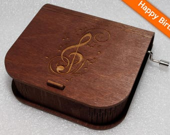 "Engraved Wooden Music Box  ""Happy Birthday"" #3 - Hand Crank Movement"