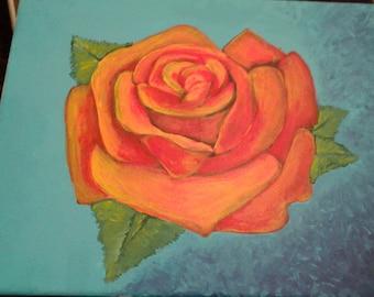 handmade original painting of a greatful rose