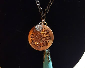 Copper and teal locket necklace