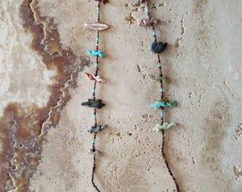 Zuni fetish single strand necklace