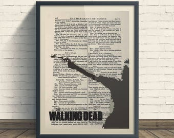 The Walking Dead - A4 Art Print On Old Book Page Rick Grimes Brown