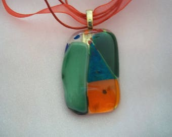 Fused glass pendant dichroic orange green triangle quilted necklace