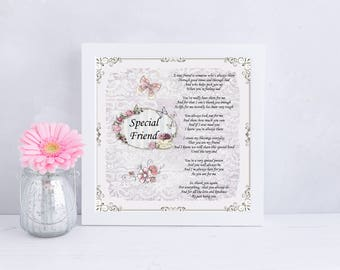 Special Friend Friendship Poem Verse UNFRAMED PRINT Personalise Option