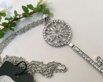 Key pendant Silver Diamante by Evviva 65mm