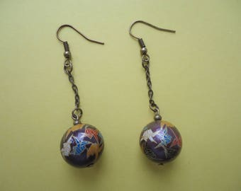 Dark burgundy bead earrings