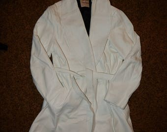 Vintage White Leather Trench Coat