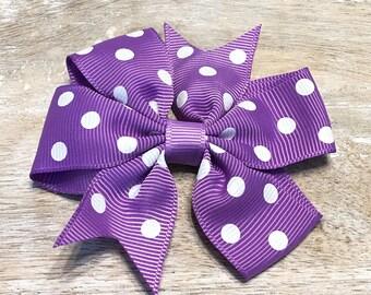 Grape Purple and White Polka Dot Grosgrain Ribbon Bow, Alligator Clip, Barrette, 3 inches wide, Hair bow, Girls