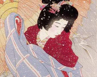 "Japanese Art Print ""Snowstorm"" by Shinsui Ito, woodblock print reproduction, fine art, asian art, cultural art, snow, umbrella, winter"