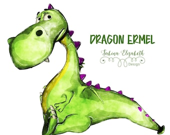 Dragon Ermel 2, bright green, Watercolor Clipart, Baby, Child, Fun, Craft