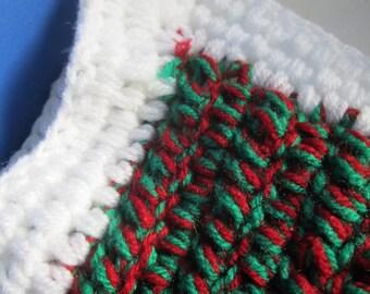 Red,Green and White Crochet Blanket