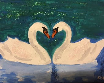 Acryl Painting two Swans with Glitter