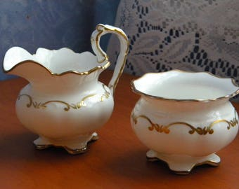 Aynsley Creamer and Sugar Bowl White with Gold Trim