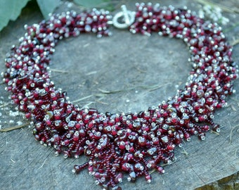 Burgundy Necklace and Earrings Garnet Necklace January Birthstone Necklace Burgundy bridesmaid Marsala Red Natural stone Gemstone Bijoux