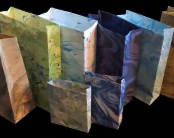 "Hand Marbled Gift Bags, Set of 6, 4"" x 6"", plus 2 bonus Mini-Bags"