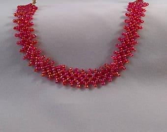 Red Heirloom stitch bracelet.