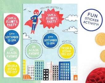 Personalised Superhero Invitations with Sticker Activity
