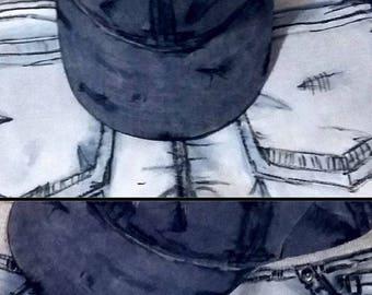 Denim Cel Shaded Ball cap, Comic Style