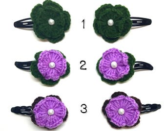 Flower hair clips, knitted hair clips, hair accessories