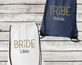 Personalized Bridesmaids Tote Bags, Bride or Tribe Drawstring Tote Bags, Personalized Bridesmaid Gift