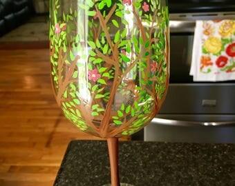 Flowering tree wineglass
