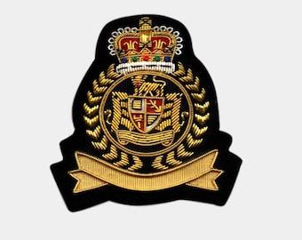 Bullion Crests Hand Embroidered Blazer Patches / vintage bullion blazer badges