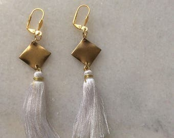 Gold Tone/White Fringe Earrings