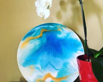 Ocean Deep Sea Painting- Resin & Birch Wood
