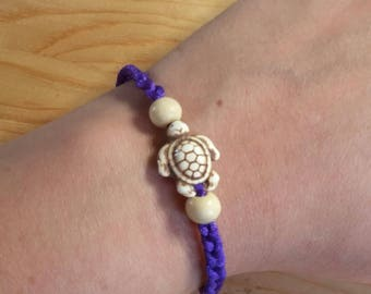 Braided Turtle Bracelet w/Bead Accents