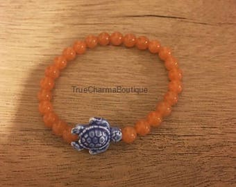 Orange Chalcedony Ceramic Turtle Charm Bracelet