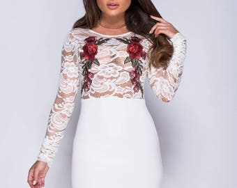 Floral white lace dress