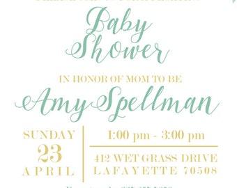 Gender Neutral Floral Baby Shower Invitation