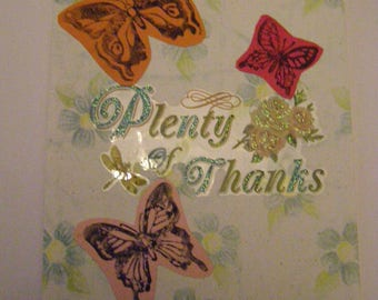 Floral and butterfly thank you cards. Set of 3.