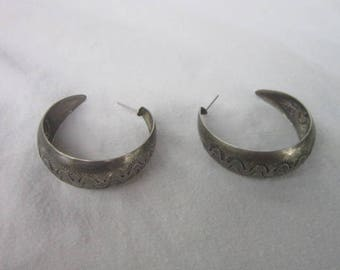 Vintage Native American  Silver  Large Hoop Pierced Earrings
