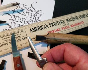 Custom hand-shaped Sheffield Steel  (Quill Cutting) Pen Knife w/free goose quill test cut with the very knife
