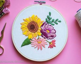 Wild Flower Embroidery Bouquet Hoop Art