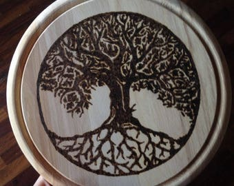 Painting tree of life Tree of Life Celtic Wood Pyrography