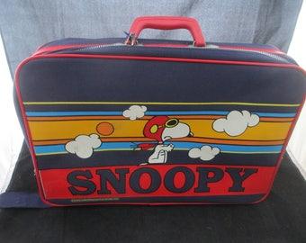Vintage Snoopy Children's Suitcase Red Baron Peanuts Aviva