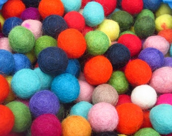 2cm Felt Balls 25 Pack - Choose your own colours