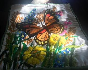 3 Vintage 60's Embroidered Handmade Throw Pillow FLOWERS