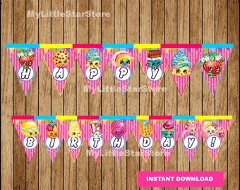 Shopkins Banner, Printable Shopkins Triangle Banner, Shopkins party Banner Instant download