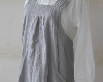 linen pinafore apron MADE IN JAPAN blue gray linen 100%