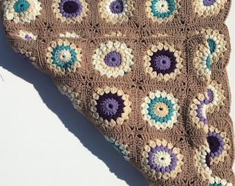 Crocheted Blue and Purple Flower Afghan Blanket